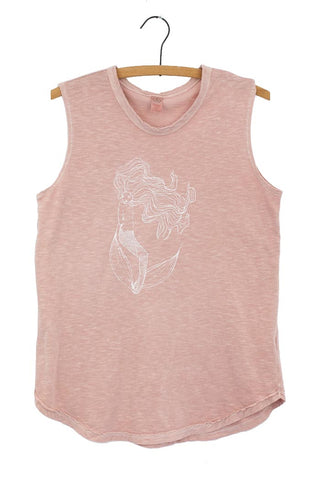 mermaid slub muscle tank sleeveless top pink hand designed graphic screen printed haiku maui wings hawaii casual everyday wear super soft shirt beach babe
