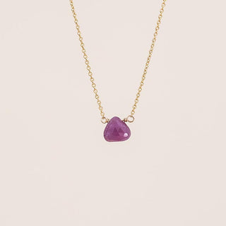 single stone necklace gold filled chain and findings with a pink sapphire stone in the center women's jewelry fine dainty minimal every day gems hand made in haiku maui by wings hawaii