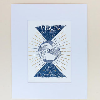 pisces mermaid zodiac print with mat blue and gold wings hawaii