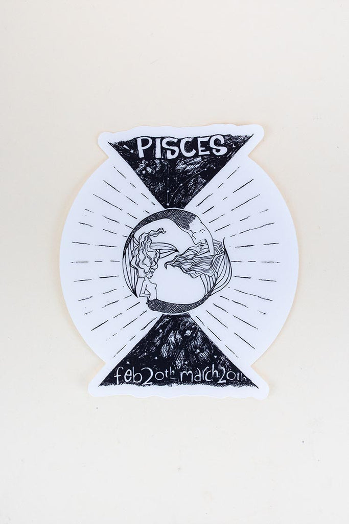 pisces mermaid zodiac sticker large black and white decal wings hawaii