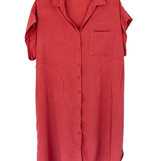 Short Sleeve Pocket Blouse Dress - Terracotta