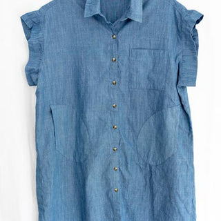chambray blue button up over sized one size blouse dress with pockets fabric belt hand sewn soft and comfy day and evening wear womens summer essential haiku maui wings hawaii