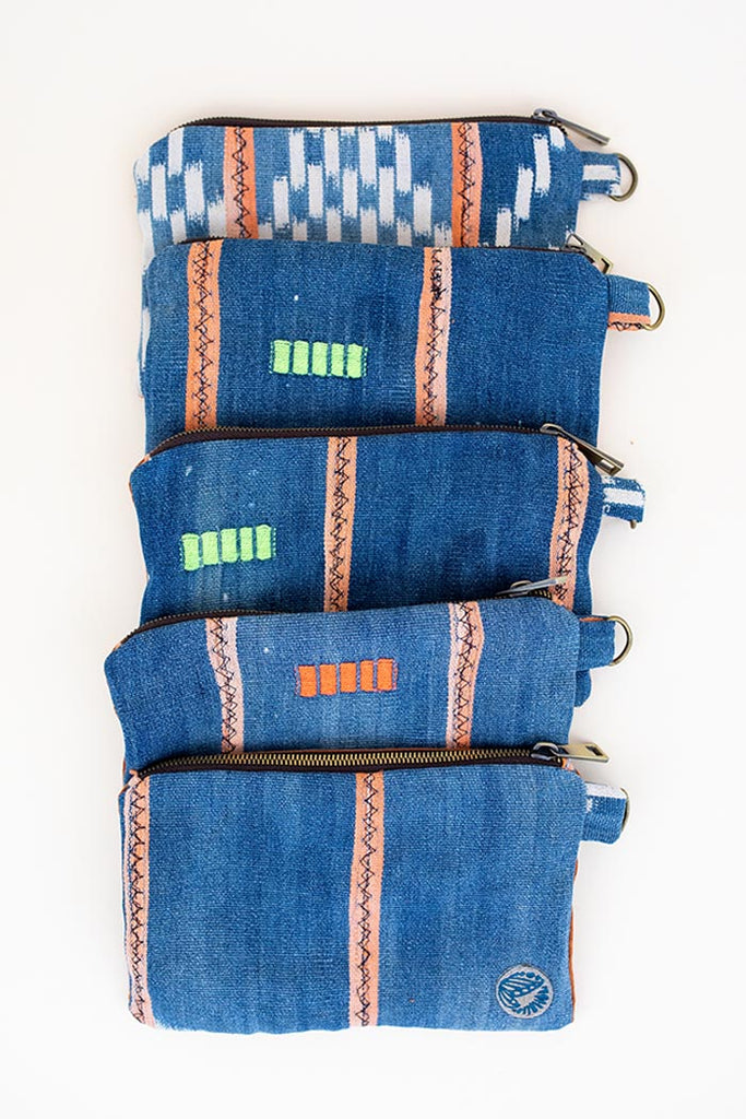 handwoven zip pouch vintage fabric cotton and corduroy  blue teal pink peach stripes full zipper top with a d ring to attach your keys purse clutch carry all stash all day to night accessory hand sewn haiku maui wings hawaii