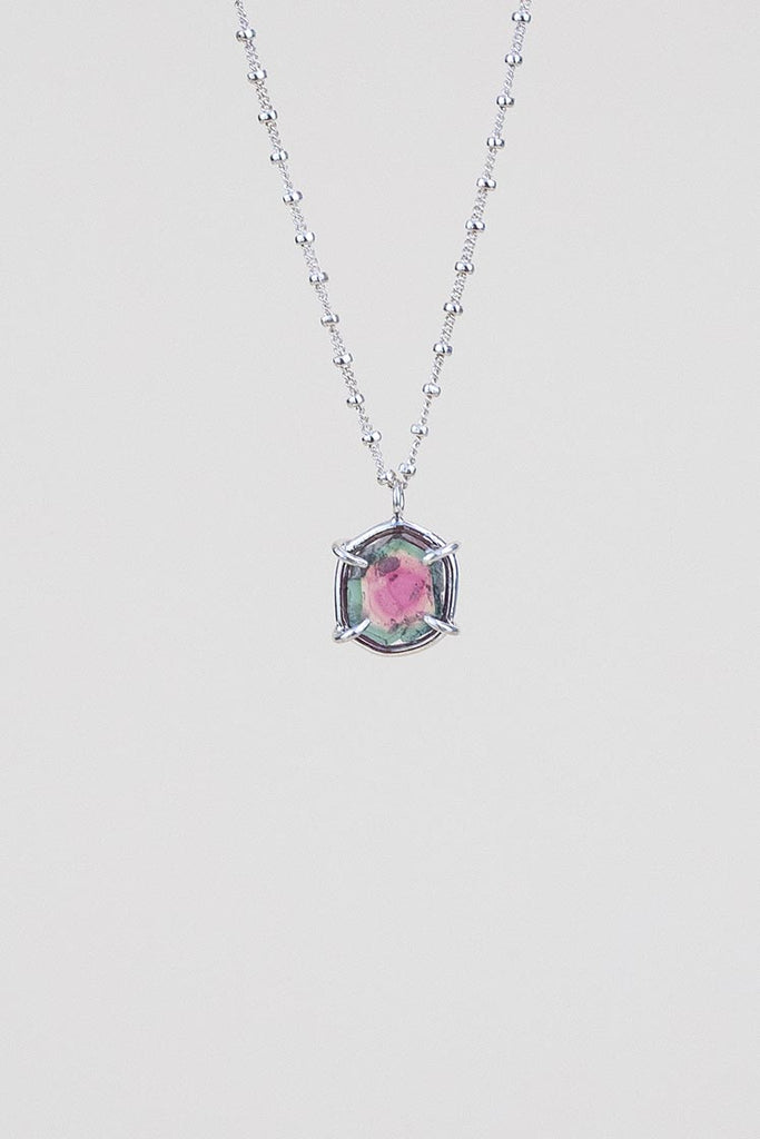 watermelon tourmaline slice necklace beautiful gemstone prong set on sterling silver wire on silver satellite chain women's magical crystal jewelry fine dainty minimal boho hand made haiku maui wings hawaii