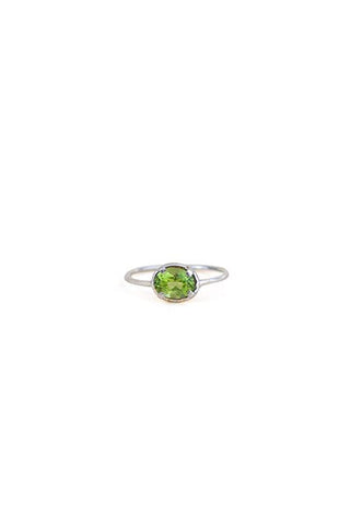 sterling silver or gold filled prong set peridot green crystal gemstone ring womens dainty fine jewelry hand made haiku maui wings hawaii