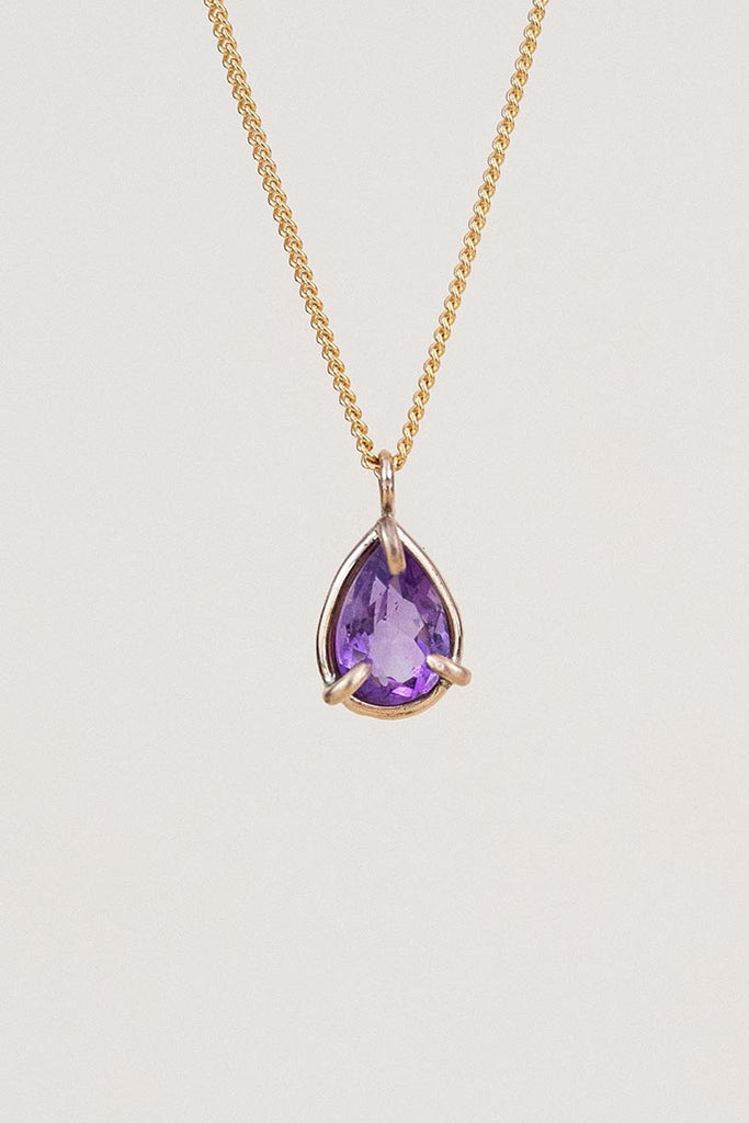 purple amethyst stone prong set on gold filled wire and chain necklace women's magical boho crystal jewelry perfect for layering classy gems hand made by wings hawaii on maui