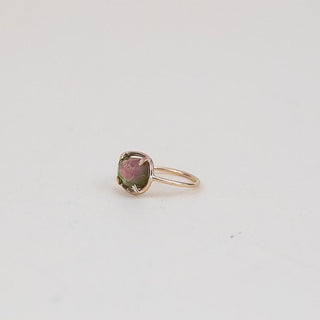 rose cut watermelon tourmaline ring prong set gem stone on gold filled wire women's magical crystal jewelry dainty fine minimal simple boho chic style hand made haiku maui wings hawaii