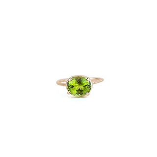 14k gold prong set peridot crystal gemstone ring womens dainty fine minimal classic jewelry hand made haiku maui wings hawaii