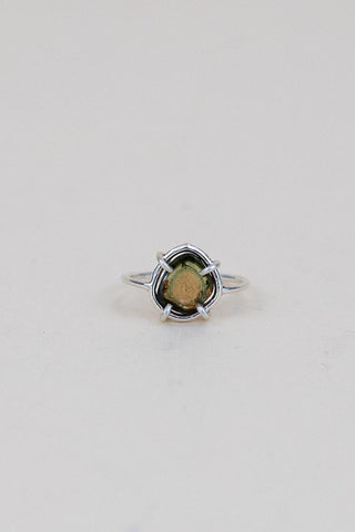 tourmaline slice prong set on sterling silver women's ring jewelry magical crystal gemstones fine dainty minimal boho style hand made haiku maui wings hawaii