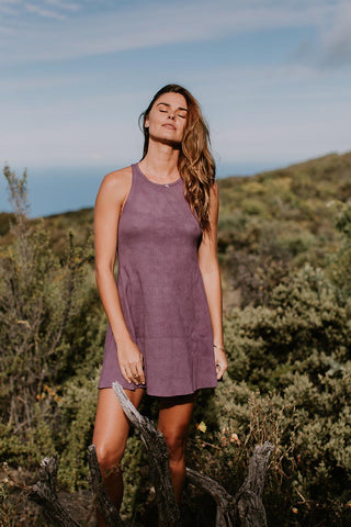 ribbed ryanne swing dress cotton spandex fabric blend women's high neck soft dress orchid purple color hand sewn fall collection wings hawaii