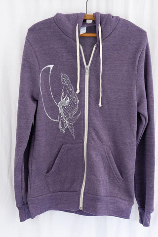 moonmaid mermaid and moon white graphic on purple zip up hoodie with pockets super soft women's clothing wings hawaii