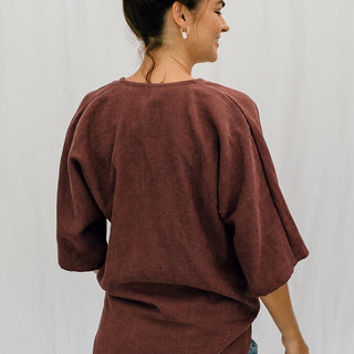 kimono tie top 100% linen women's casual and chic clothes tops hand sewn haiku maui wings hawaii