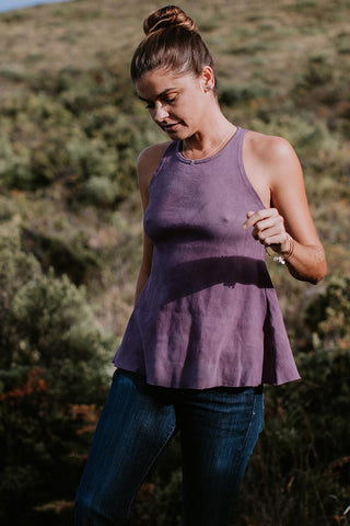 ribbed ryanne swing tank in orchid purple color cotton spandex fabric blend women's high neck soft tank top hand sewn haiku maui wings hawaii