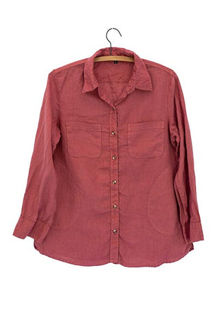 Linen Pocket Blouse - Terracotta