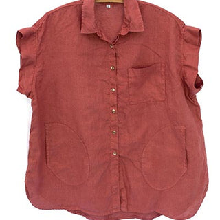 Short Sleeve Pocket Blouse - Terracotta