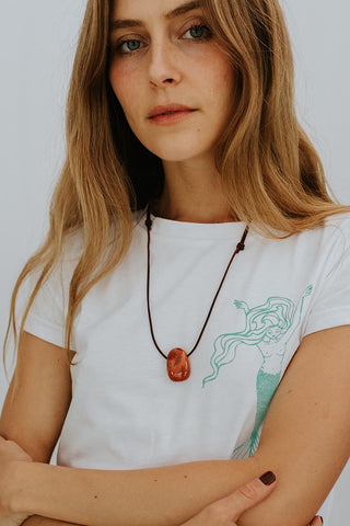 Leather Necklace - Red Jasper