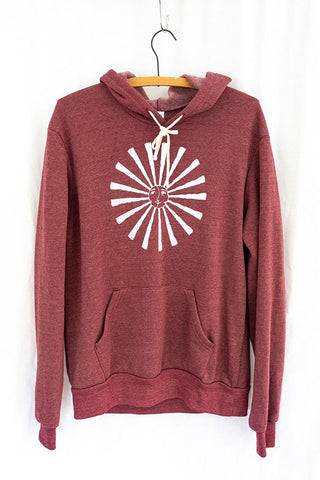 unisex hoodie with white sun moon graphic screen printed on the front cranberry color with front pocket super soft casual everyday sweatshirt wings hawaii