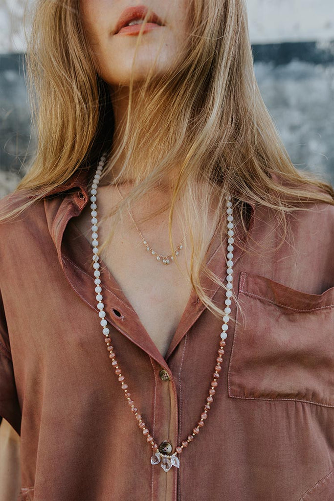 rhodochrosite and moonstone beaded necklace with 3 small herkimer diamonds women's magical crystal boho jewelry classy and chic perfect for layering hand made jewelry by wings hawaii on maui