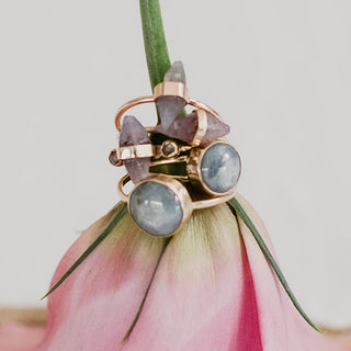 star sapphire double band ring set in solid gold 14k minimal dainty crystal jewelry women's collectible maui wings hawaii september birthstone