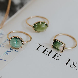 crown green tourmaline stone prong set on solid 14k yellow gold women's magical crystal gemstone ring jewelry boho minimal style and vibes hand made haiku maui wings hawaii
