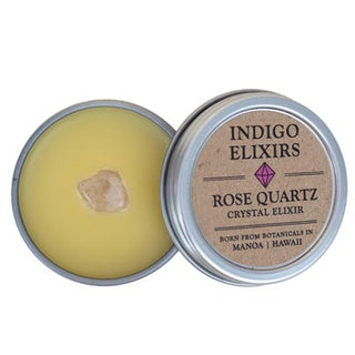 rose quartz crystal body balm organic essential oils skin care hawaii made indigo elixers made from botanicals grown in manoa hawaii