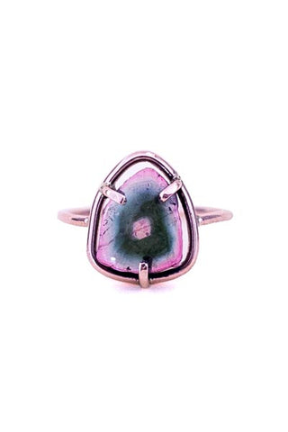 wings hawaii handcrafted ring with slice of watermelon tourmaline in prong setting in solid 14 karat rose gold