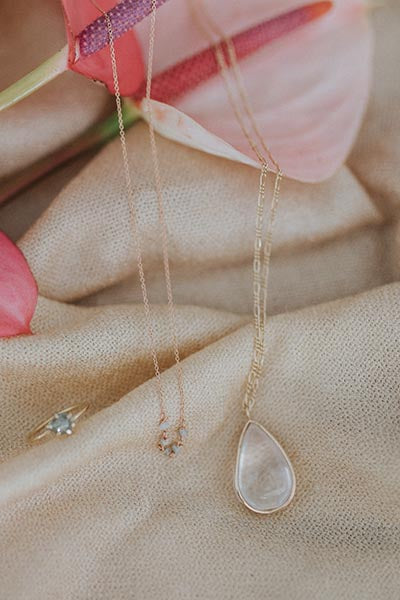 wings hawaii 14 karat gold rose quartz pendant necklace fine chain maui made mermaid jewelry