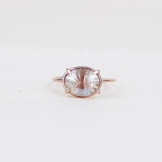 oval sunstone prong set on solid 14k rose gold ring women's magical crystal jewelry fine dainty minimal boho chic jewels wings hawaii