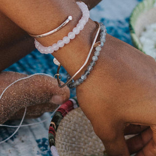 rose quartz beaded bracelet women's crystal gem stone magical jewelry beach babe mermaid treasure made in haiku maui wings hawaii