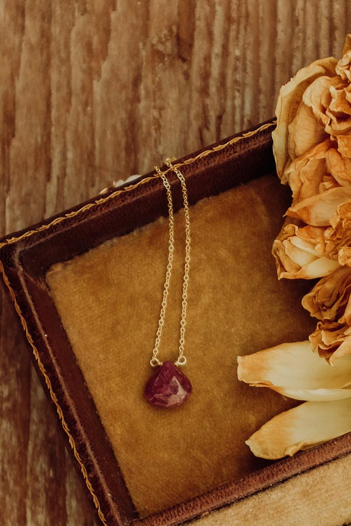Single Stone Necklace - Ruby