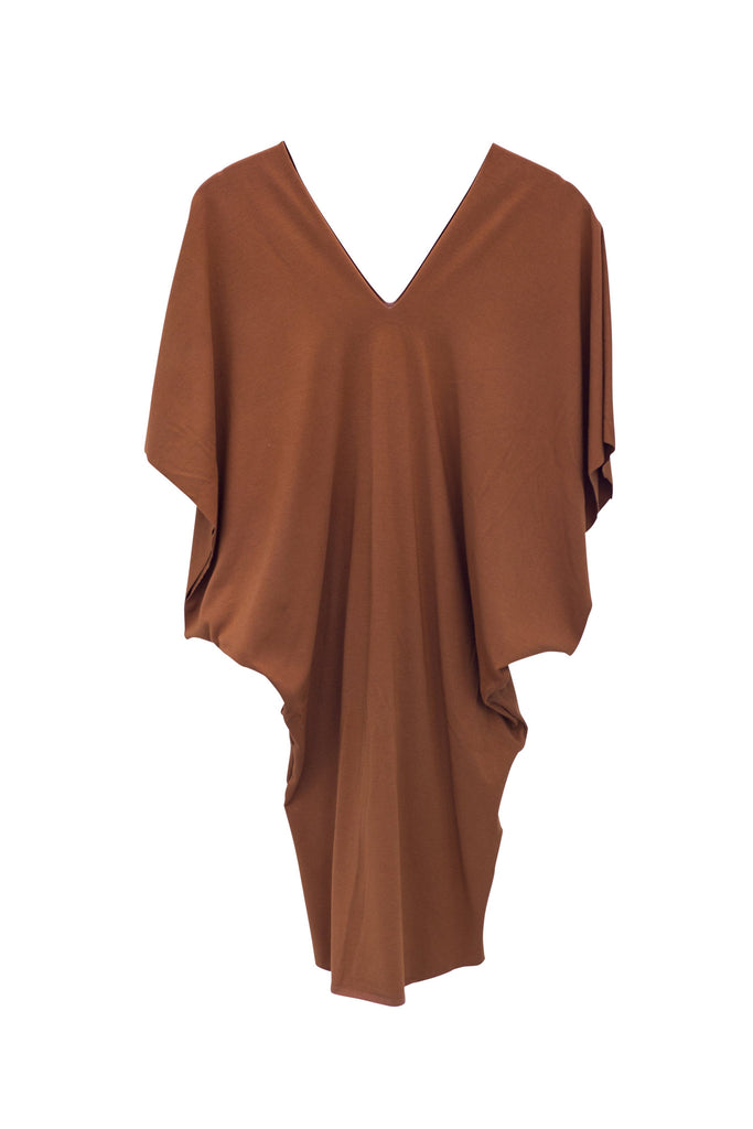 wings hawaii hand sewn and dyed rust kimono dress with v neck bloused top and fitted lower half from waist to mid thigh