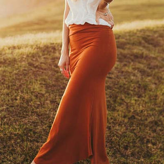 wings hawaii hand sewn and dyed rust maxi skirt fitted at the top and flaring out at the bottom 90% bamboo jersey and 10% spandex