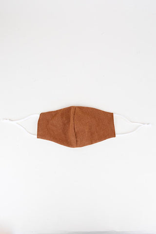 Linen Face Mask - Rust