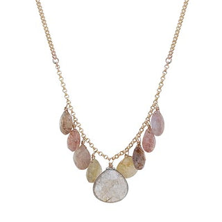 good karma chandelier necklace rutilated quartz crystals gold filled chain necklace magical jewelry