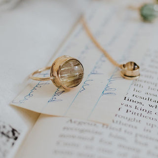 round rutilated quartz stone bezel set in solid 14k yellow gold ring women's crystal jewelry fine boho jewels hand made haiku maui wings hawaii