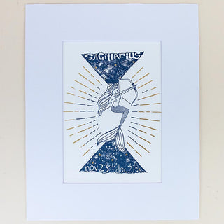 sagittarius mermaid zodiac print with mat blue and gold wings hawaii