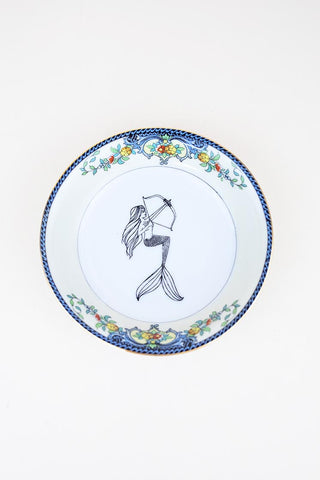 sagittarius mermaid decal fired onto vintage china food or jewelry dish wings hawaii