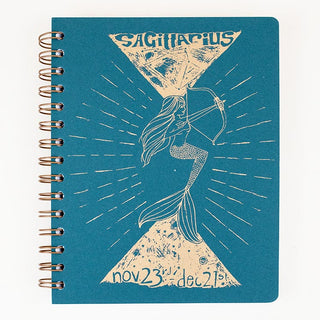 zodiac journal notebook sagittarius birthday season mermaid artwork wings hawaii