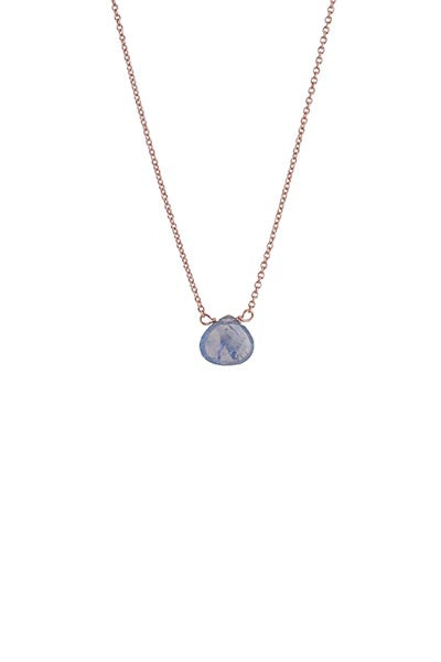 single stone necklace sapphire gem set on 14k rose gold chain women's magical crystal jewelry fine dainty minimal made on maui wings hawaii september birthstone