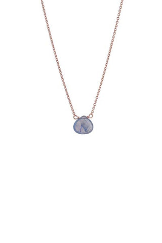 Single Stone Necklace - 14k Rose Gold - Sapphire