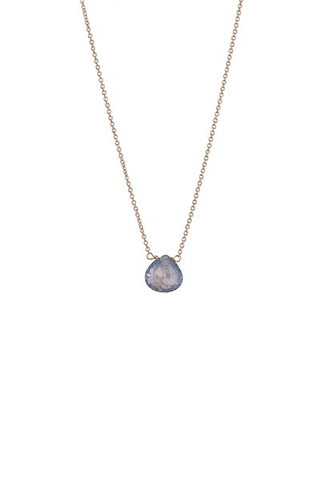 Single Stone Necklace - 14k - Sapphire