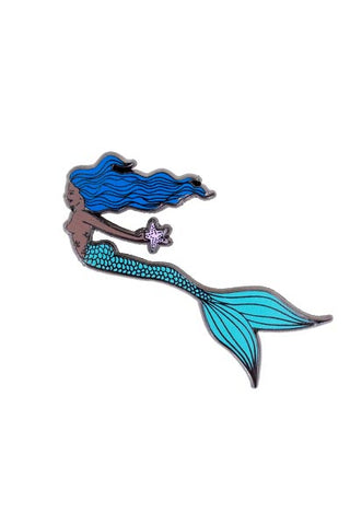 wings hawaii enameled pin sea star mermaid maui girl sea shell