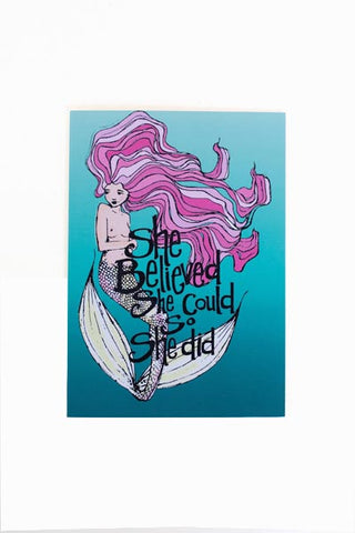 She Believed Mermaid Card