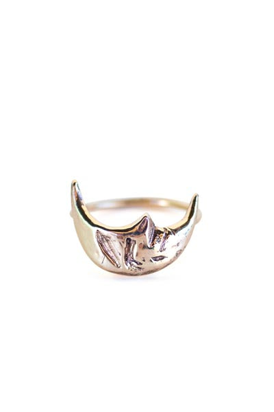 wings hawaii hand carved 14 karat gold crescent moon ring