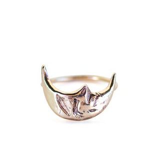 14k yellow gold sleeping moon crescent shape smiling celestial womens ring hand made haiku maui wings hawaii minimal simple elegant everyday piece