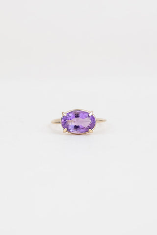 oval faceted amethyst prong set on 14k yellow gold ring women's crystal gemstone jewelry fine boho chic wings hawaii