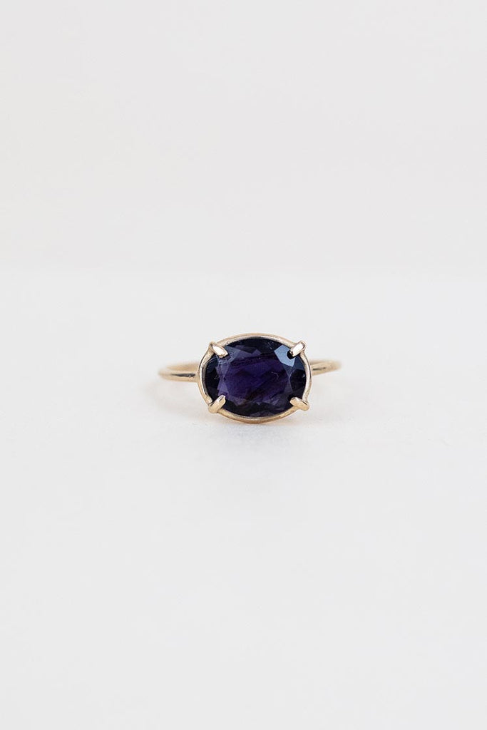 oval iolite stone prong set on solid 14k yellow gold ring women's magical crystal jewelry fine dainty minimal boho jewels wings hawaii