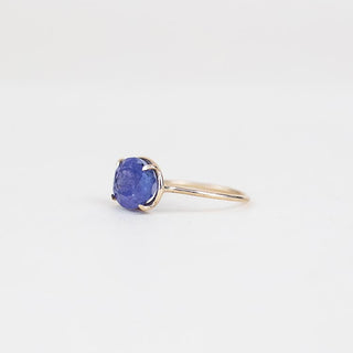 tanzanite stone prong set on solid 14k yellow gold ring women's crystal jewelry fine boho chic wings hawaii