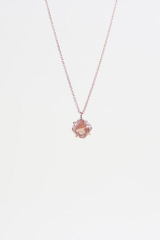 cushion cut sunstone crystal prong set on solid 14k rose gold wire, hanging on 14k rose gold chain