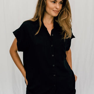 100% rayon short sleeve pocket blouse in black button up front one size loose fit casual comfy chic style women's attire day to night clothing wings hawaii